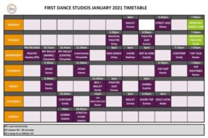 January 2021 Dance Timetable High Res